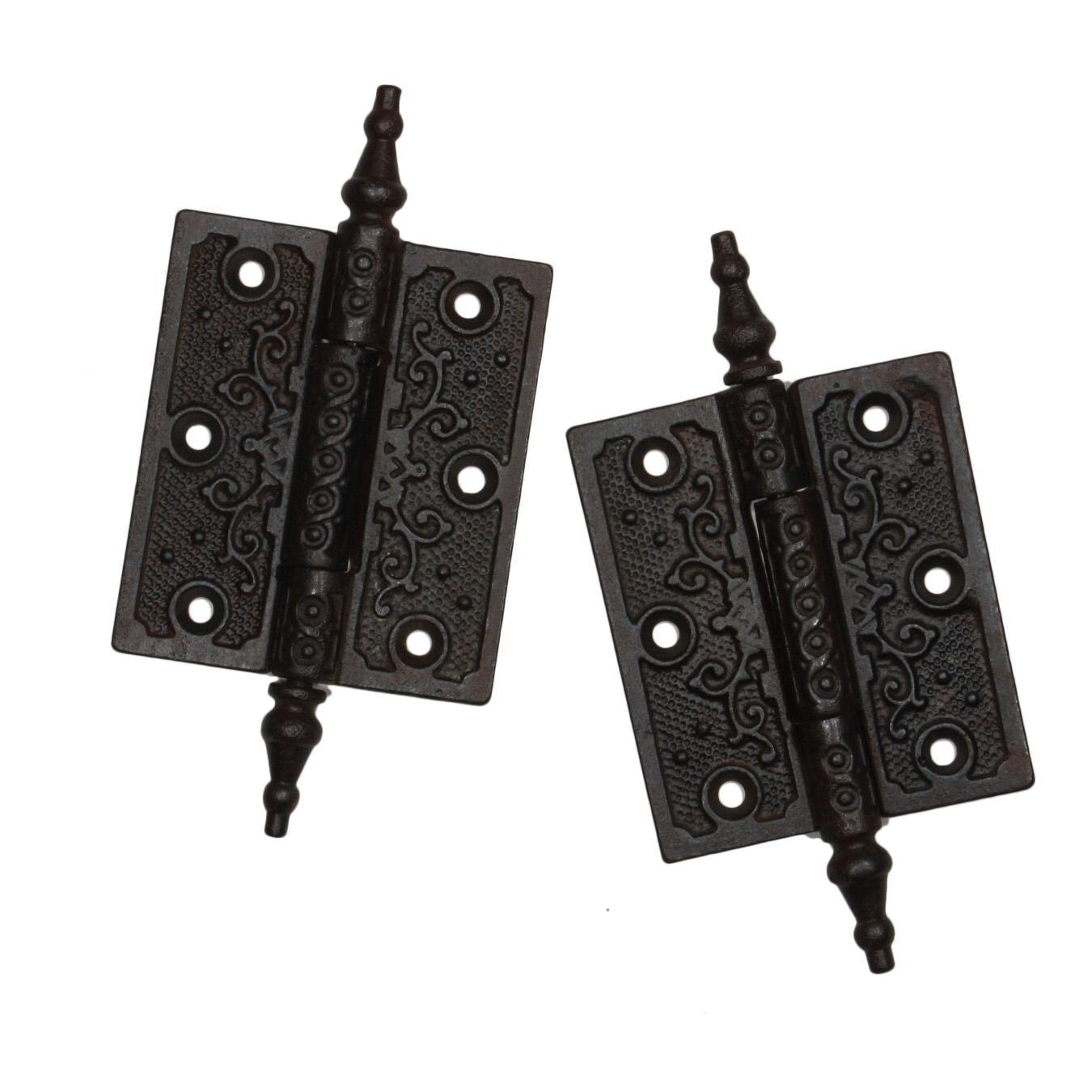 "Antique Pair of Cast Iron Eastlake 3.5"" Hinges, 19th Century"