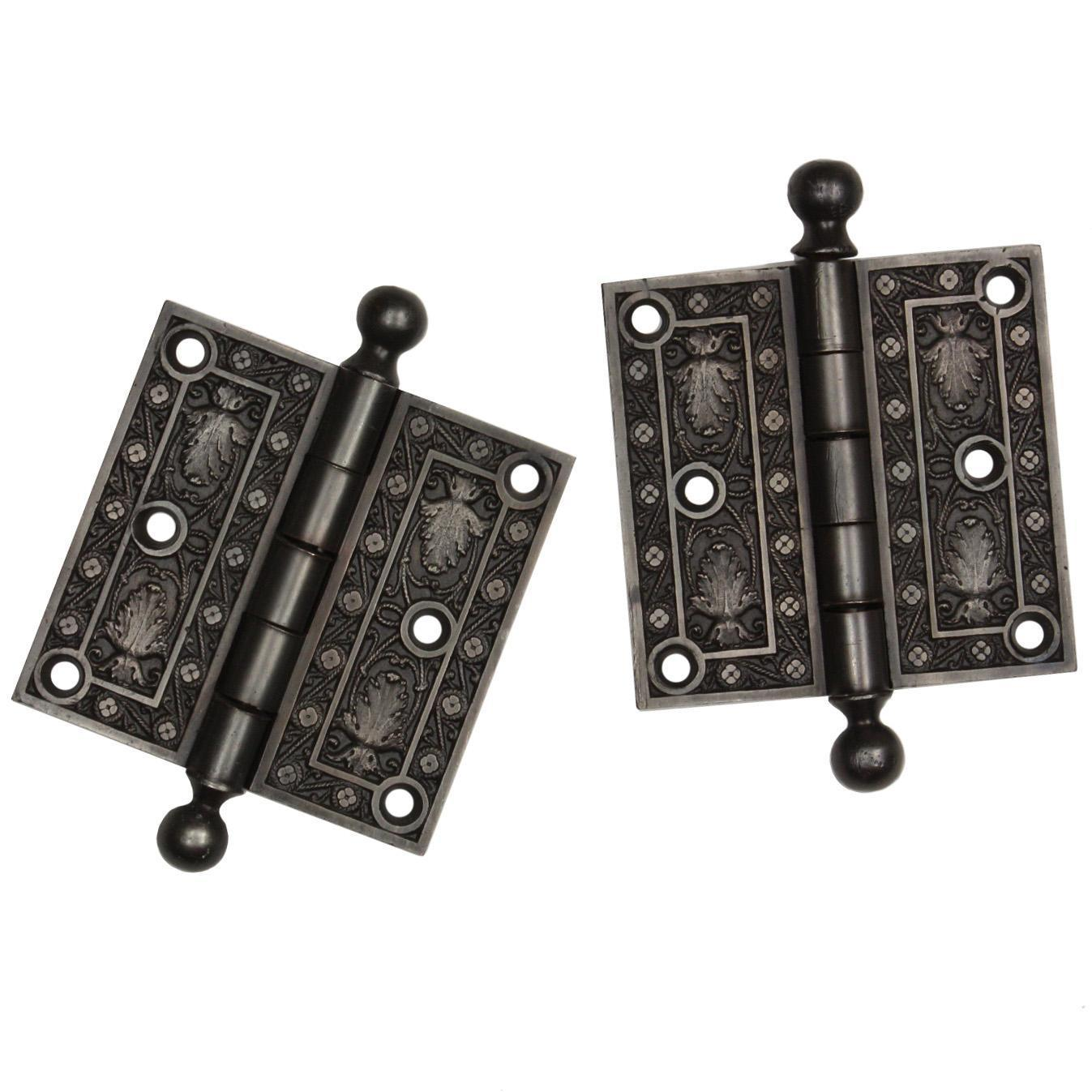 "Antique Pair of Cast Iron 3.5"" Hinges, Late 19th Century"