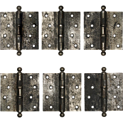 """Antique 4.5"""" Ball Bearing Hinges with Hammered Finish"""