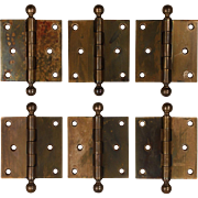 "Antique 3.5"" Cast Brass Hinges by Vassar"
