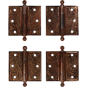 """Antique Pairs of Copper Plated 3.5"""" Eastlake Hinges"""