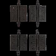 """Pairs of Antique Cast Iron 3.5"""" Hinges, c. 1880's"""