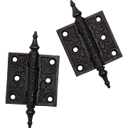 "Antique Pair of Cast Iron 2.5"" Hinges, c. 1880's"
