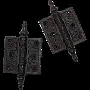 """Antique Pair of Cast Iron 2.5"""" Hinges, c. 1880's"""