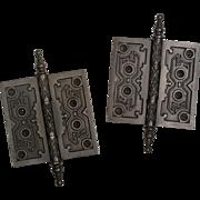 """Antique 5"""" Cast Iron Hinge Pair with Geometric Design"""