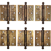 "Antique 3.5"" Eastlake Hinges, Brass Plated"