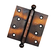 """Antique 4"""" Ball Finial Hinges, Japanned Finish"""