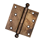 """Antique 4"""" Ball Finial Hinges, Brass Plated Finish"""