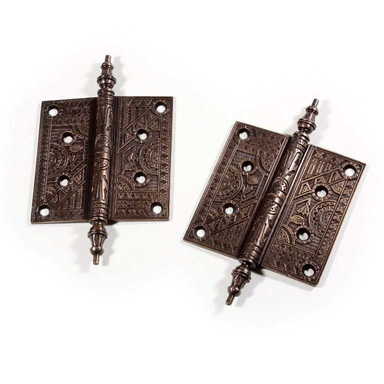 "Splendid Pair of Antique Cast Bronze Lift-Off Hinges, 5"", with Decorative Design"