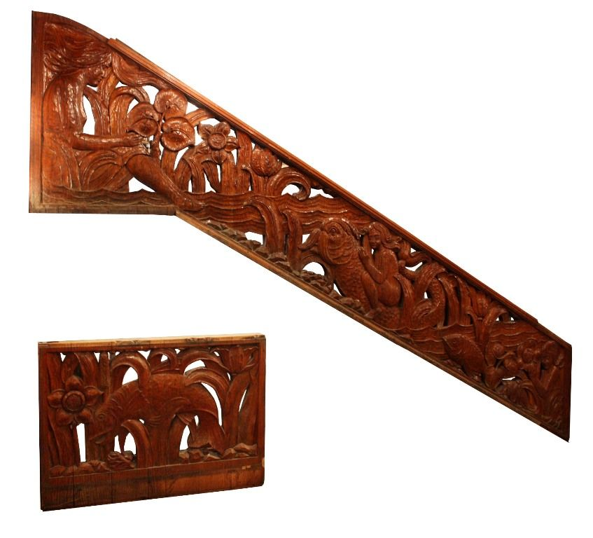 Antique Hand Carved Three-Piece Figural Staircase with Mermaids, Sea Creatures, and Women