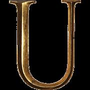 """Reclaimed Cast Bronze Letter """"U"""", Cincinnati, OH"""