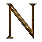"Salvaged Cast Bronze Letter ""N"", Cincinnati, OH"