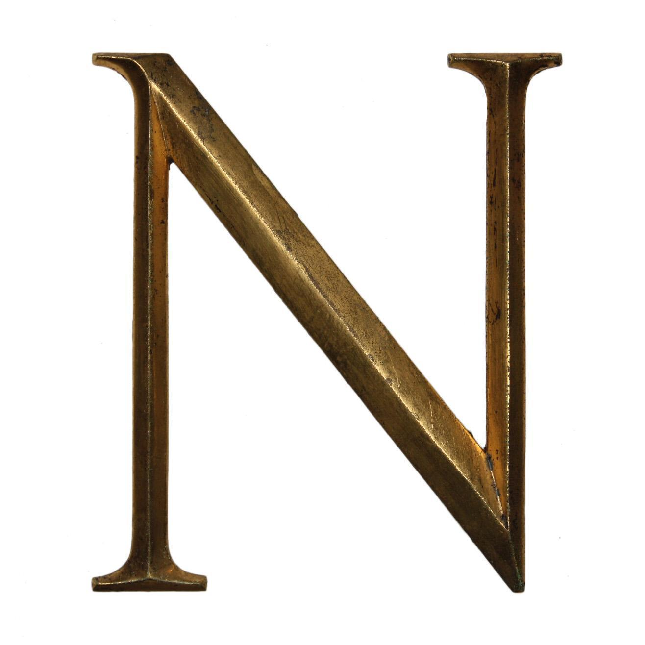 "Salvaged Cast Bronze Letter ""N"", Cincinnati, OH"