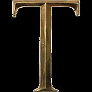 """Reclaimed Cast Bronze Letter """"T"""", Cincinnati, OH"""