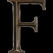 """Reclaimed Cast Bronze Letter """"F"""", Cincinnati, OH"""