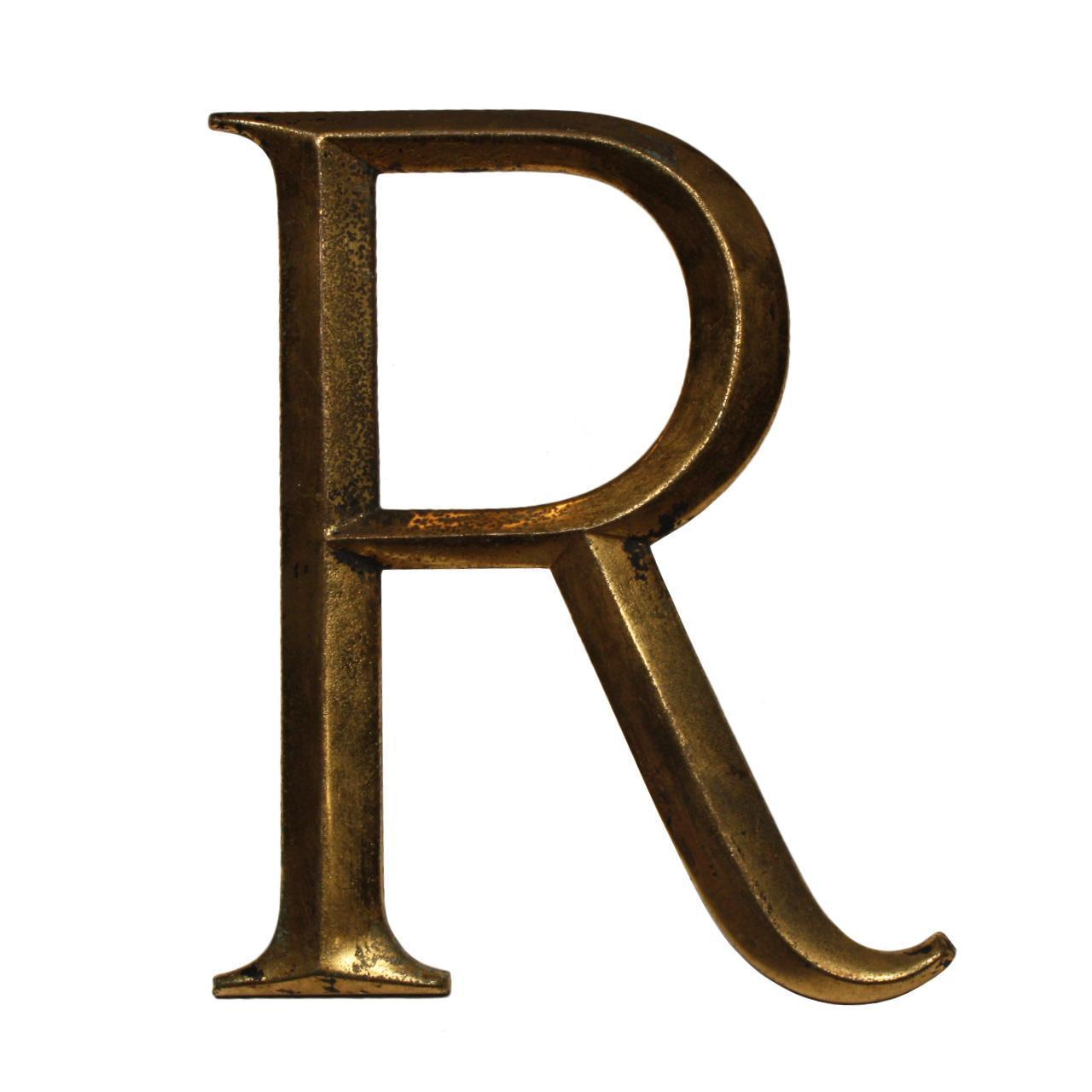 "Salvaged Cast Bronze Letter ""R"", Cincinnati, OH"