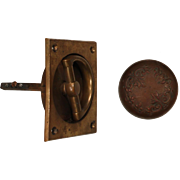 Complete Antique Brass Rim Lock Set, Matching Doorknobs and Escutcheons