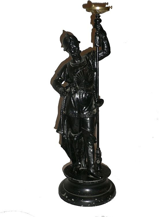 Incredible Antique Figural Gas Lamp, 1870's