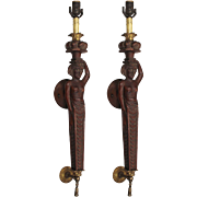 Antique Figural Carved Wood Sconce Pair, Early 1900s