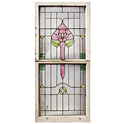 Antique American Stained Glass Sash Set
