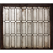 Antique American Leaded Glass Window with Florentine Glass