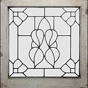 Antique American Leaded Glass Window, Stylized Flower