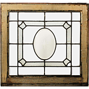 Antique Leaded and Beveled Glass Window, Hand-Cut Star