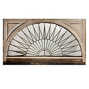 Antique Arched American Leaded Glass Window