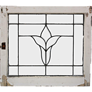 Antique American Leaded and Beveled Glass Windows, Stylized Flower