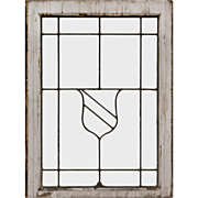 Antique American Leaded Glass Window, Shield