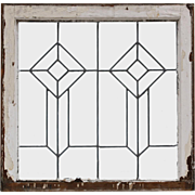 Antique American Leaded Glass Window, Geometric