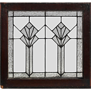Antique American Art Deco Leaded Glass Window, Florentine Glass