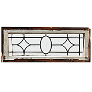 Antique American Leaded and Beveled Glass Transom Windows, Wheel-Cut Star
