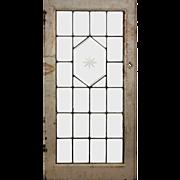 American Leaded and Beveled Glass Window, Wheel-Cut Star