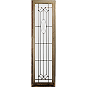 Antique American Leaded and Beveled Glass Window, Wheel Cut Cross