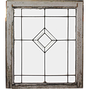 Antique American Beveled and Leaded Glass Window, Early 1900s