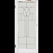 Antique American Leaded Glass Windows, Stylized Flower