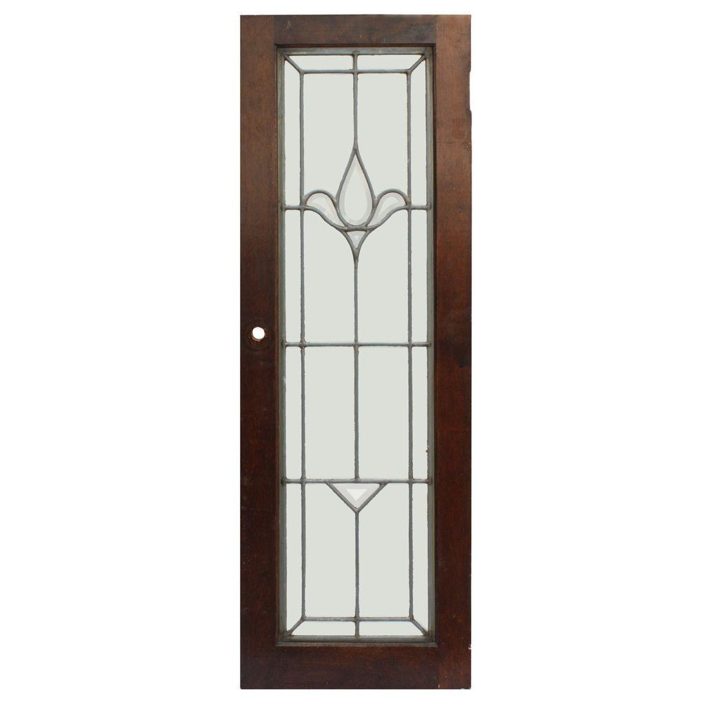 Matching Antique American Beveled and Leaded Glass Windows, Stylized Flower