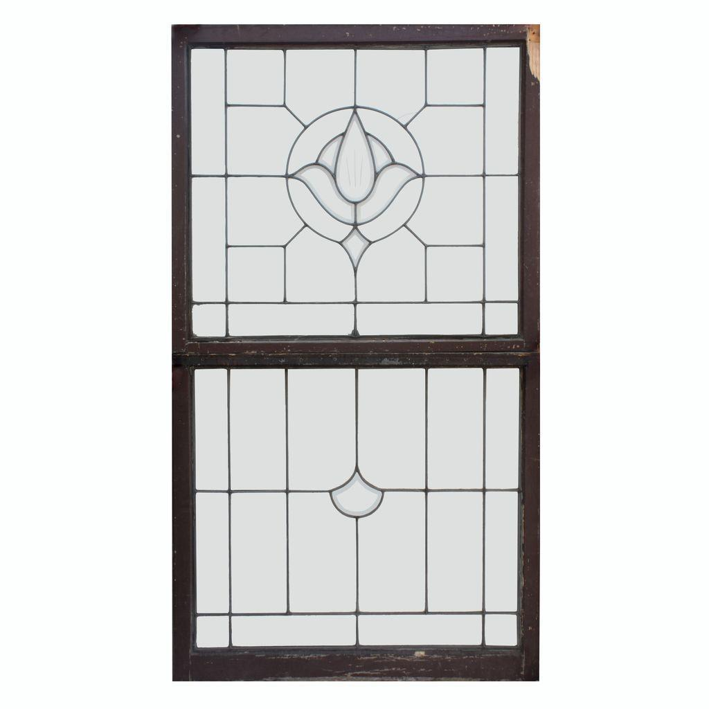 Lovely Antique American Leaded Glass Window Sash Set, Hand-Cut and Beveled Glass
