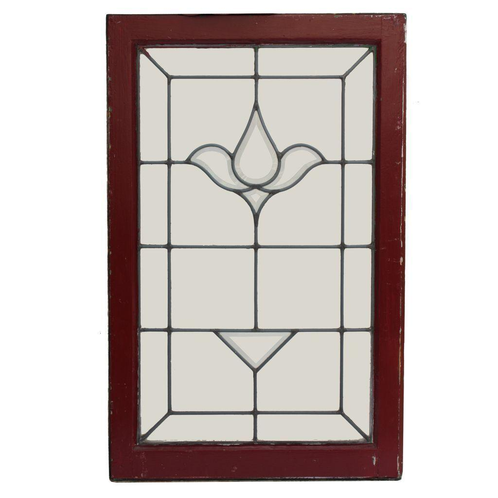 Marvelous Matching Antique American Beveled and Leaded Glass Windows, Stylized Flower