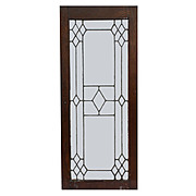 Antique American Leaded Glass Window, Oak Frame