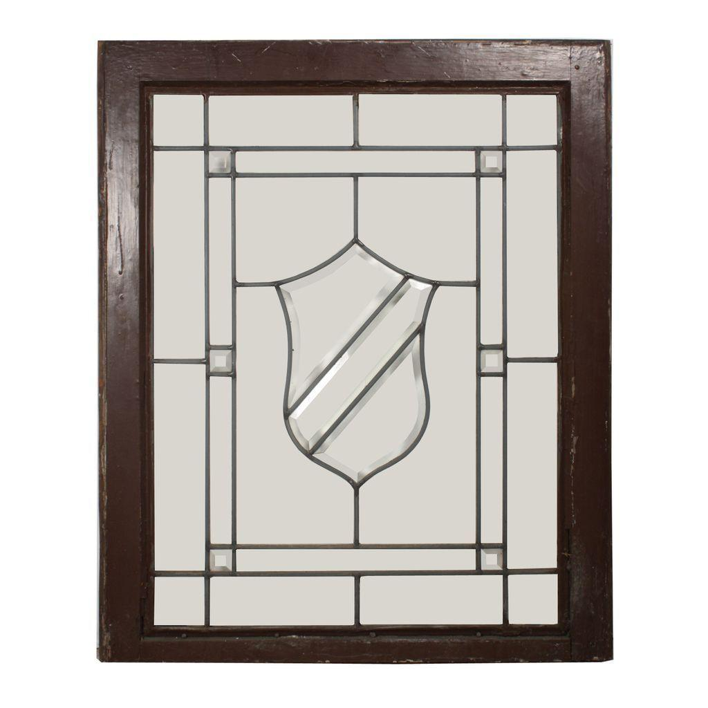 Striking American Beveled and Leaded Glass Windows with Shield