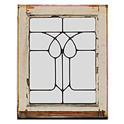 Lovely Antique American Leaded Glass Windows, Stylized Flower
