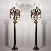 Magnificent Pair of Antique Five-Light Cast Brass Lamps with Glass Globes, 6' Tall