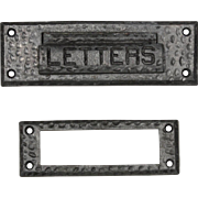 Hammered Cast Iron Letter Slot with Matching Interior Trim Piece, c. 1920s