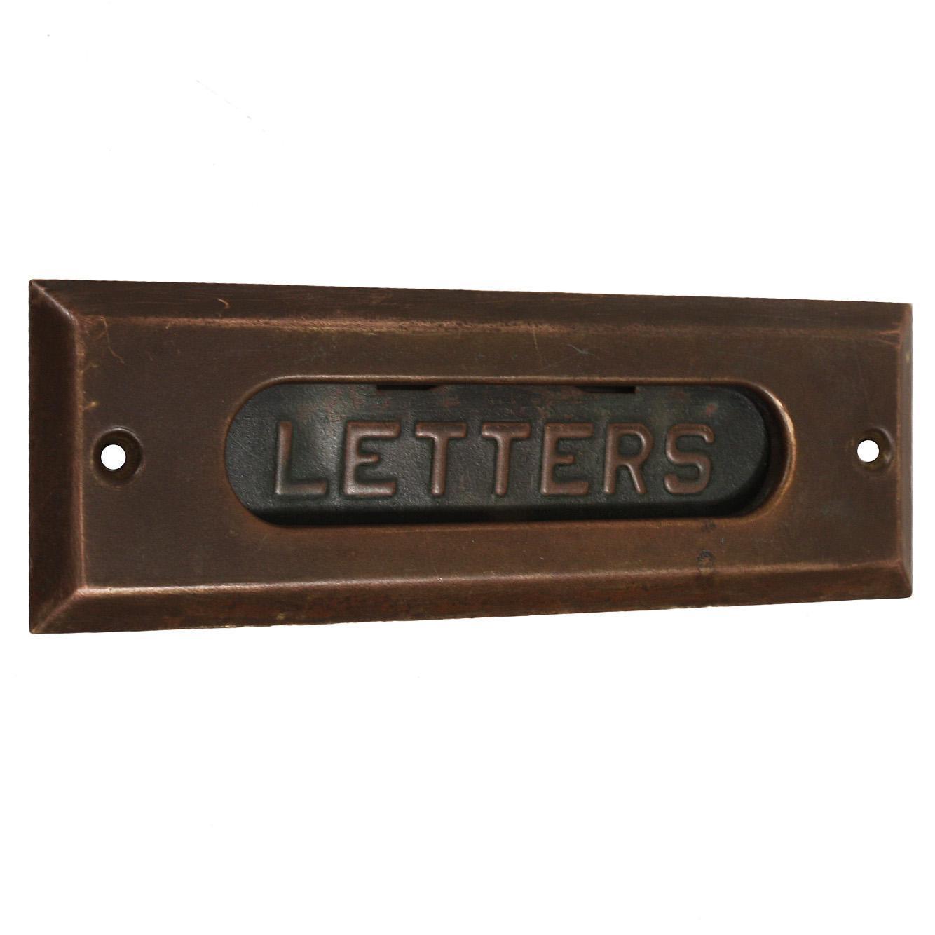 Antique Brass Letter Slot Set, Early 1900s
