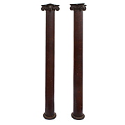 Reclaimed Pair of Antique Ionic Columns in Oak, Early 1900s