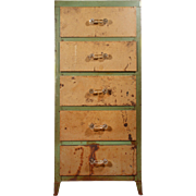 Antique Industrial Metal Cabinet with Glass Handles, Hemp & Co.