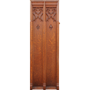 Salvaged Antique Gothic Revival Quarter Sawn Oak Panel
