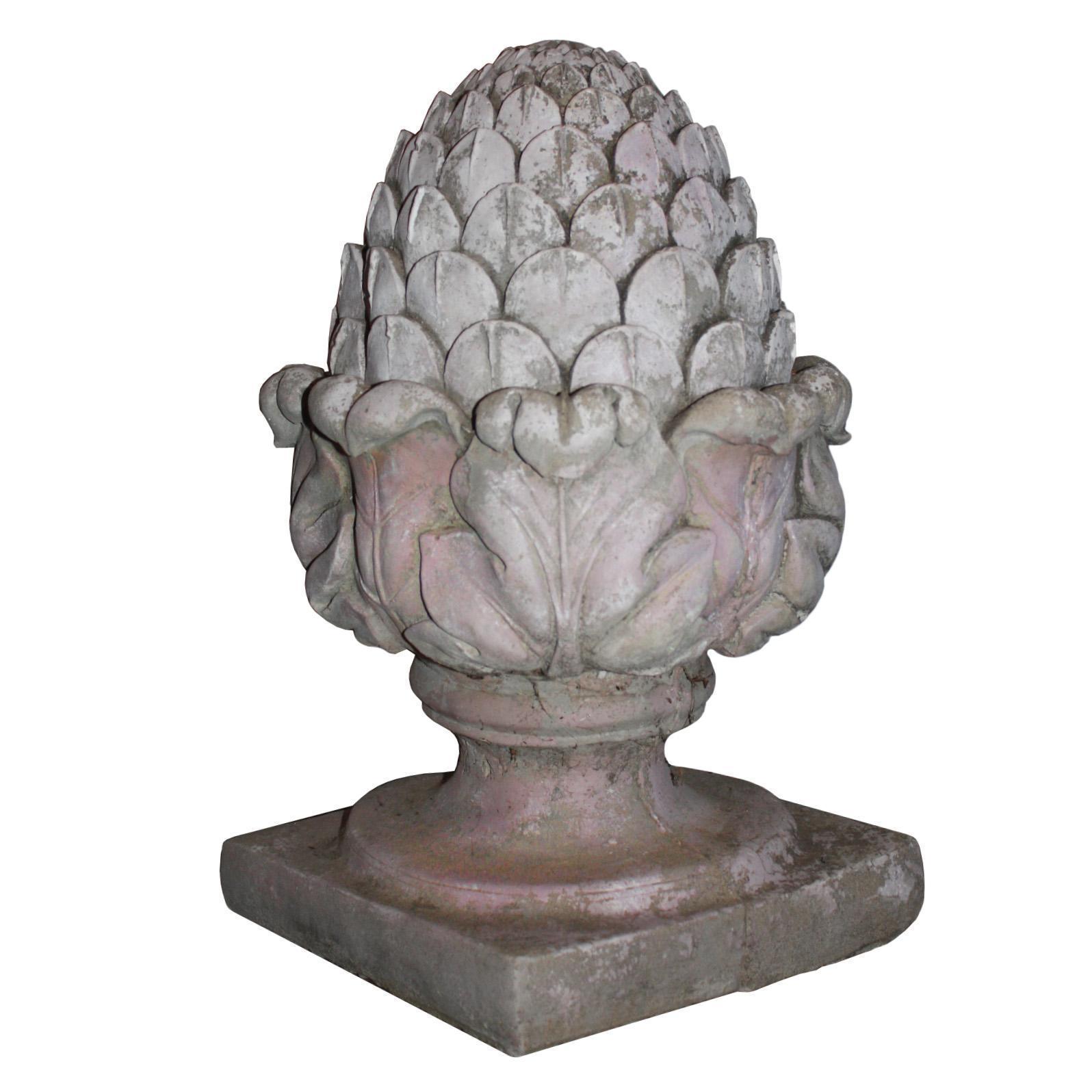Antique Cast Stone Artichoke, Early 1900s
